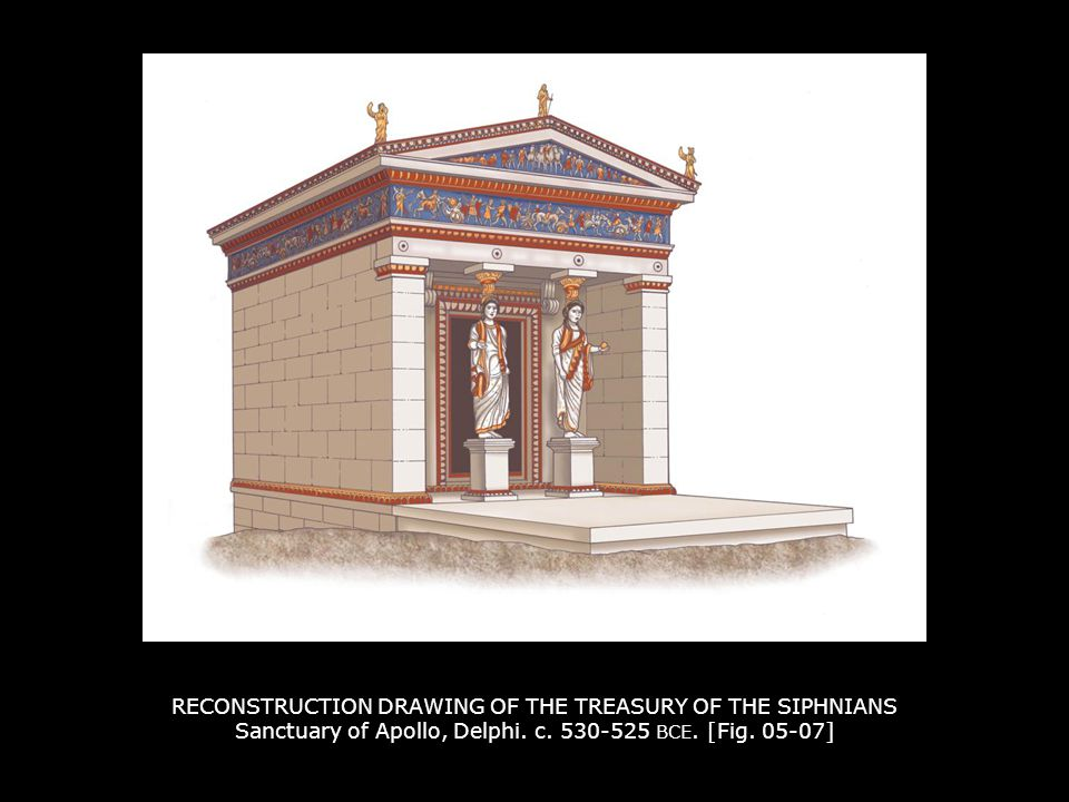 RECONSTRUCTION DRAWING OF THE TREASURY OF THE SIPHNIANS Sanctuary of Apollo, Delphi. c. 530-525 BCE. [Fig. 05-07]